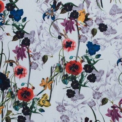 Colorful Flowers Digitally Printed on a Premium Mikado/Twill Fabric by the Yard | Mood Fabrics