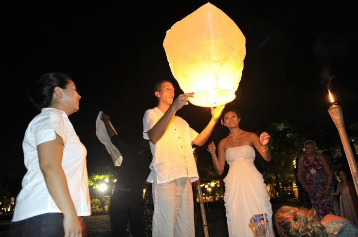 Releasing the lantern — at Ma Joly Restaurant & Lounge.
