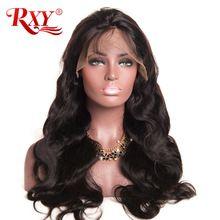 RXY Sans Colle Avant de Lacet Perruques de Cheveux Humains Avec Bébé Cheveux 8 ''-24'' corps Vague Perruque Brésilienne Cheveux Perruques Pour Les Femmes Noires Non-Remy Cheveux(China (Mainland))