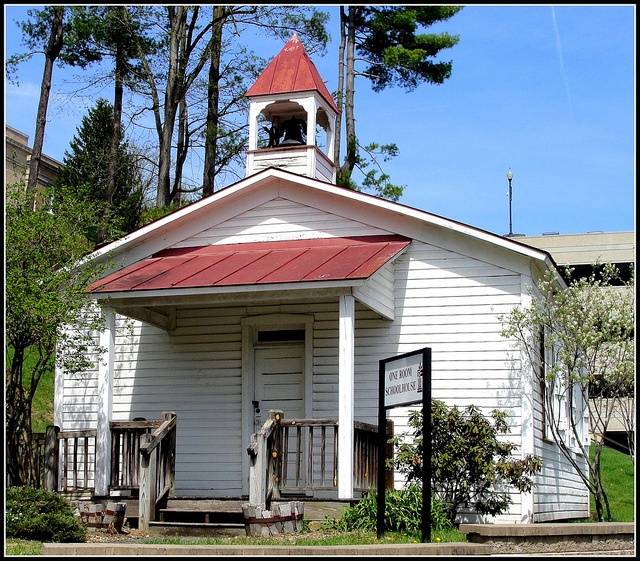 The one room schoolhouse on the property of Fairmont State University in Marion County, West Virginia.
