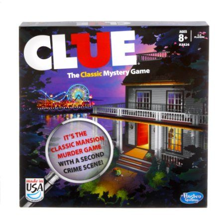 Clue Board Game, 2013 Edition by Hasbro List Price:	$12.99 Price:	$7.77 & FREE Shipping on orders over $35. https://www.amazon.com/dp/B00DUB6RVW?tag=howtobuild005-20&camp=0&creative=0&linkCode=as4&creativeASIN=B00DUB6RVW&adid=0CPCXMCX3DHQ2C4NQK5R&