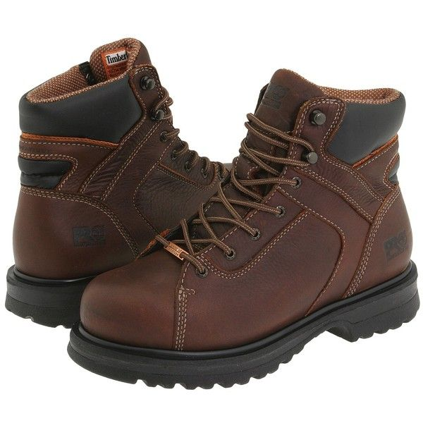 Timberland PRO Rigmaster 6 Waterproof Alloy Safety Toe (Brown) Women's... ($160) ❤ liked on Polyvore featuring shoes, boots, brown, anti fatigue shoes, wide shoes, safety toe shoes, metallic shoes and brown shoes