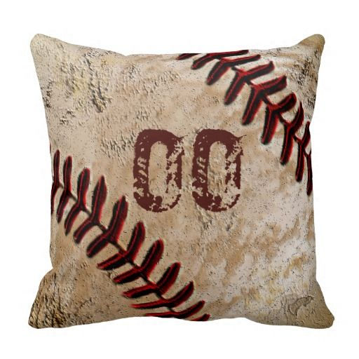 """Personalized Vintage Baseball Throw Pillows with YOUR JERSEY NUMBER typed into Text Box or DELETE IT. For Multiple Names, PERSONALIZE ONE Baseball Pillow at a Time, """"Add to Cart"""" and Go Back</b> and customize the next Baseball Throw Pillow. <br> <br> Turn it over and you have a plain antique background for a variation in your vintage baseball decor. This will add a nice touch to your Vintage Baseball Room. Man Cave, Baseball Themed Bedroom Decor, Family Room. Great Personalized Baseball ..."""