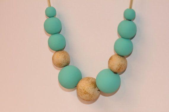 Beadwork Mint Beige Gold Necklace  adjustable by Francysdesign, $29.00