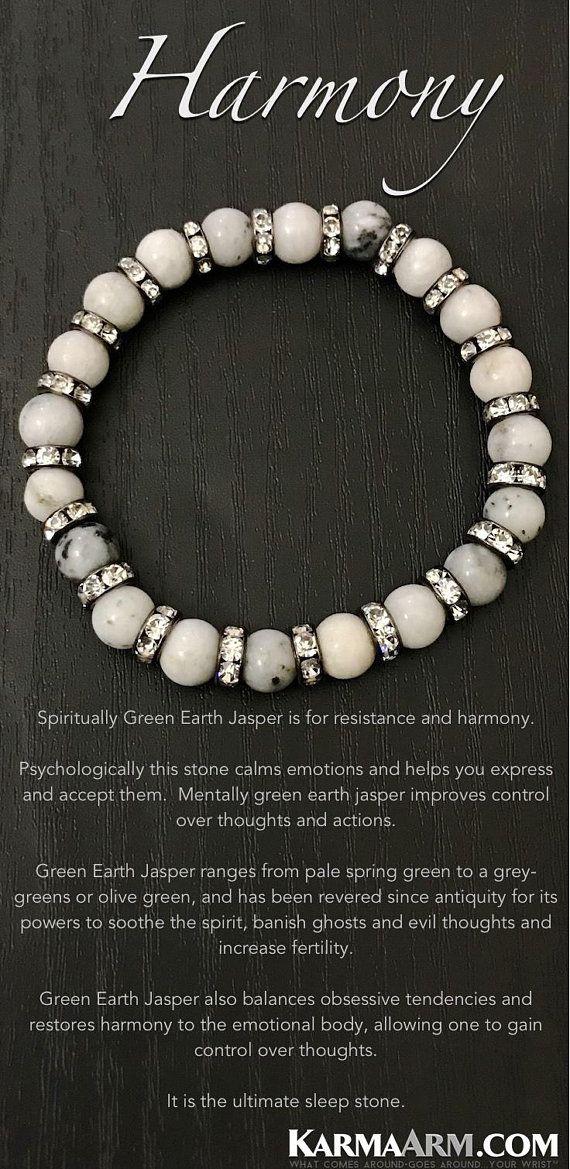 BoHo Yoga Bracelets   Meditation Jewelry   Beaded Bracelets 💎 Spiritually Green Earth Jasper is for resistance and harmony.    #WomensJewelry #Bracelets #Gifts #Meditation #Yoga #Reiki #Wisdom #MensFashion #MensBracelets #Fertility #Crystals