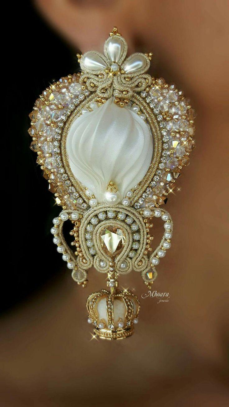 """"""" The Crown """" n 1 Shibori silk and soutache by Mhoara Jewels"""