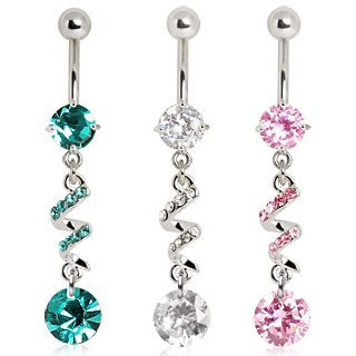 316L Surgical Steel Multigem Spiral with CZ Dangle Navel Ring