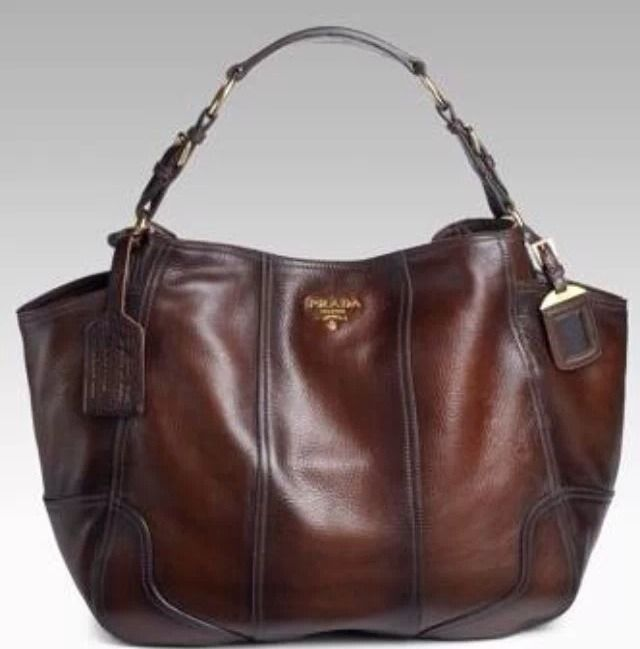 Love!!!!! Prada Cacao Antik Cervo Deerskin Leather Hobo Shoulder Bag $2,495.00 #PRADA #ShoulderBag