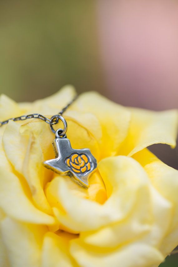 The Yellow Rose of Texas Necklace  Cast in Sterling Silver by Karissa's Creations Jewelry, $76.00 #Texas #rose