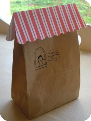 Happy Valentine's Day paper bag with striped roof. Use for Any holiday. I'm in love with this idea.