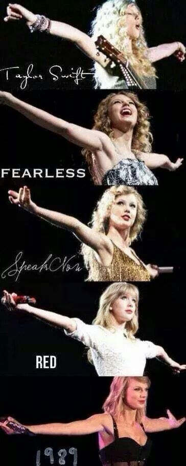 Swift; love how each picture of her captures the essence of who she is behind each album- young, free dreamer, fairytale princess, captivating storyteller, wiser, older heroine, and now a sophisticated adult.
