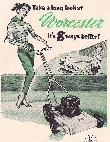 Mowin' the Lawn In Style! ~ 1956 Worcester Lawn Mower ad illustrated by Pete Hawley