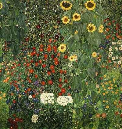 Gustav Klimt >> Farmergarden with Sunflower, 1905-06 - Vienna, Osterreichische Museum für Angewandte Kunst