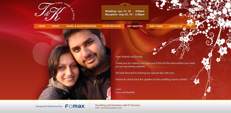 Fomaxtech creative work for tanukarthik wedding portal