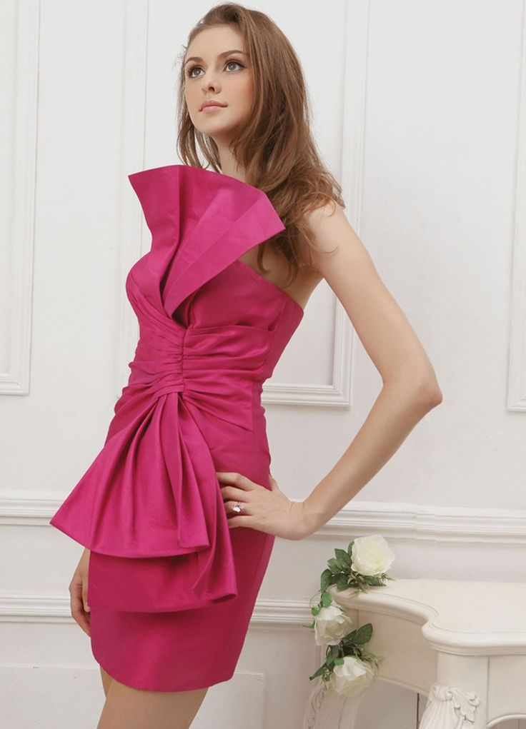 Silk large strapless bow feature ruched bodice knee length prom dress