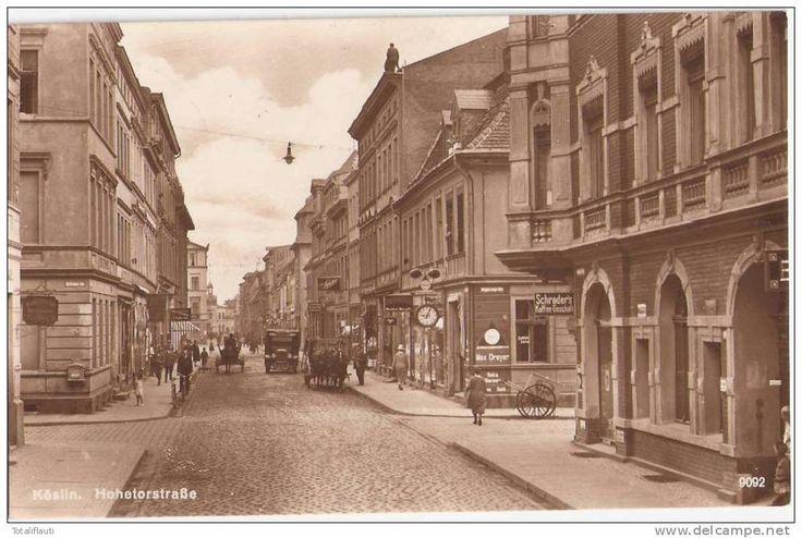 Köslin Hohetorstraße Belebt Geschäfte Koszaln Links Einmündung Böttcherstraße 1930 MAGGI Oldtimer Pferde Wagen Radfahrer - Pommern
