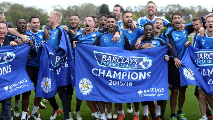 Leicester City players celebrate winning the England Premier League. Taken at their training ground.