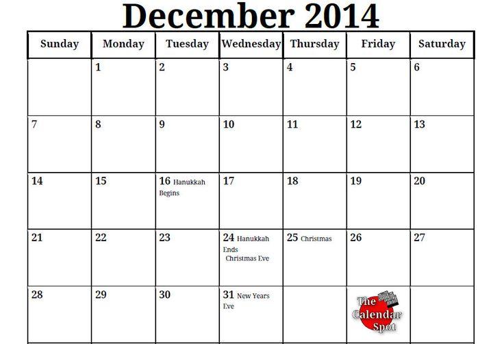 December 2014 Calendar Printable & Template http://www.calendarvip.com ...
