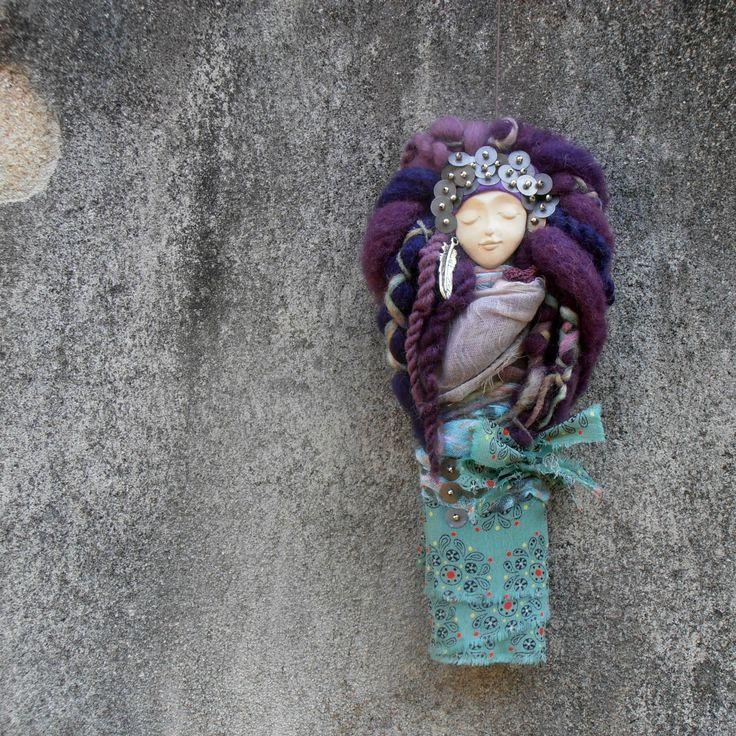 plstěná panenka, dekorace, felted, felting, felt, goddes, ceramic face,