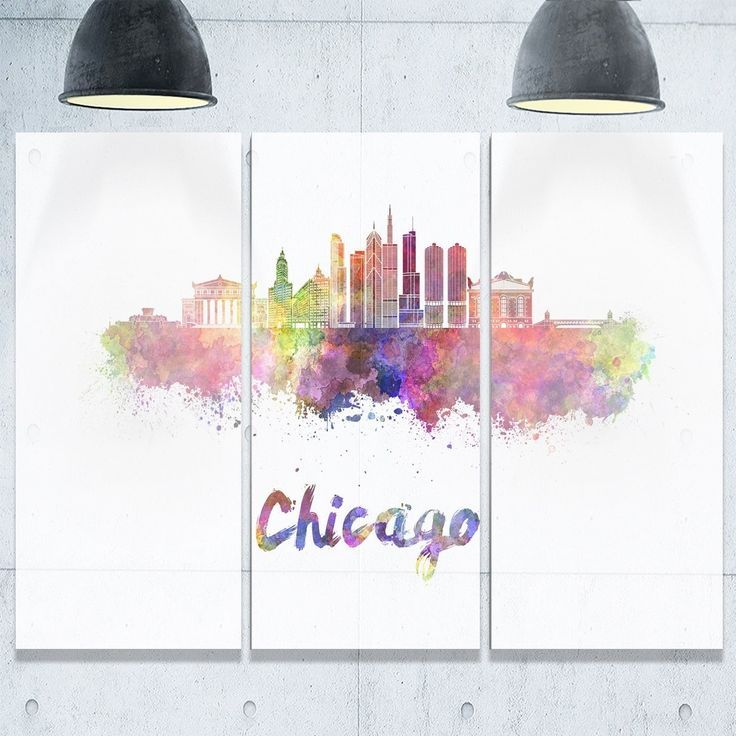 Colorful Chicago Skyline In Watercolor Cityscape Glossy Metal