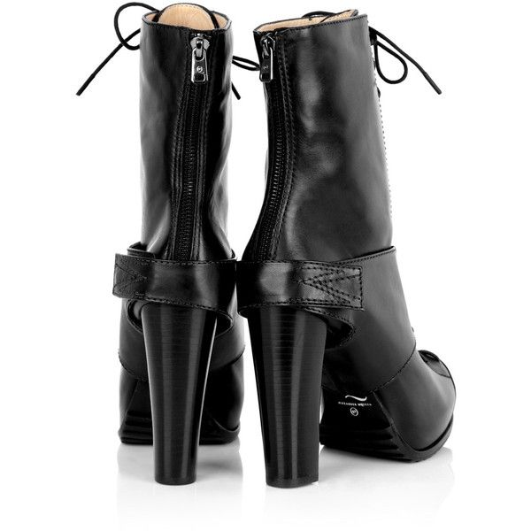 McQ Alexander McQueen Lace Up Calf Boot ($254) ❤ liked on Polyvore featuring shoes, boots, women, mid-calf lace up boots, mid calf high heel boots, black mid calf boots, lace up high heel boots and leather lace up boots