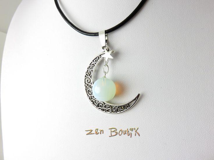 Collier Zen Lune et Opalite, Choker Ras de Cou Lune, Bijoux Zen Boutik, Saint Valentin : Collier par zenboutik