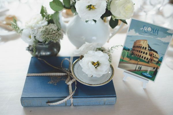 vintage book and travel inspired centerpiece