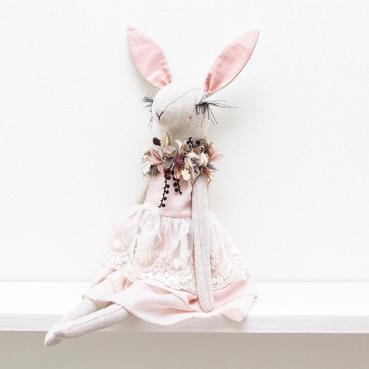 This powder pink bunny girl will be available in my shop on this Wednesday, April 26 at 3 PM UTC • • • • • #lenabekh #handmadetoy #designertoys #textiledoll #textileart #softsculpture #heirloomdoll #ragdoll #ooakdoll #clothdoll #dollmaker #dollartist #kidsroomdecor #fabricmanipulation #needlework #lacelover #patchwork #flowercrown #flowercollar #powderpink #delicate #textiledesign #bunny #hare #rabbit #bunny🐰 #bunnydoll #lapine #poupée