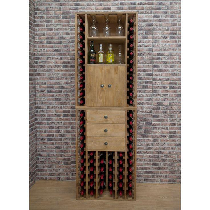 Weinregal PROVINALIA aus Holz, Modul mit Einzelflaschenlagerung und integierten Schubladen.