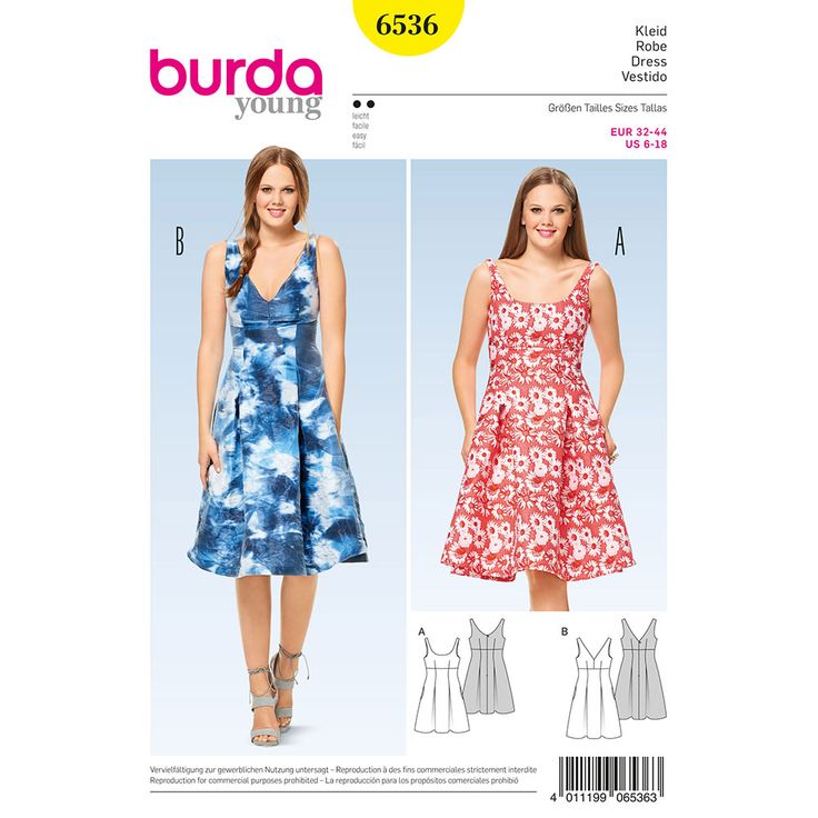 Misses High Waist Dress Burda Sewing Pattern 6536. Size 6-18.