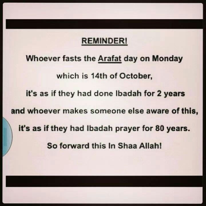Fasting on arafat day