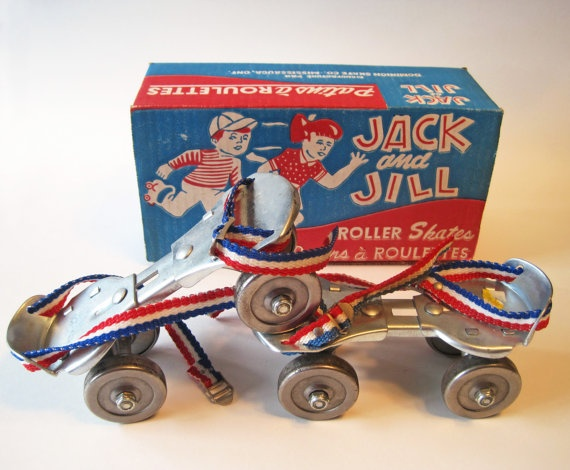 Vintage Children's Roller Skates - my skates were just like these!  The best place to skate was in someone's garage where the concrete was smooth.  It was always a big deal when someone's parent moved the car out of the garage or carport just so we could all skate.  Yee haw!  :-)  ~Debi  #debihough