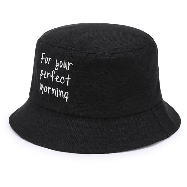 SheIn(sheinside) Slogan Embroidery Bucket Hat (93.365 IDR) ❤ liked on Polyvore featuring accessories, hats, black, bucket hat, fishing hat, embroidery hats, fisherman hat and embroidered hats