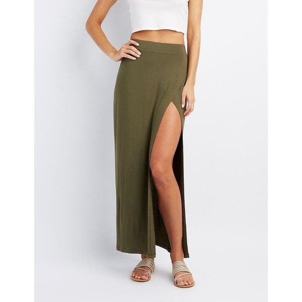 Charlotte Russe Wrap Slit Maxi Skirt ($17) ❤ liked on Polyvore featuring skirts, olive night, long slit skirt, wrap skirts, sexy maxi skirt, high low maxi skirt and olive maxi skirt
