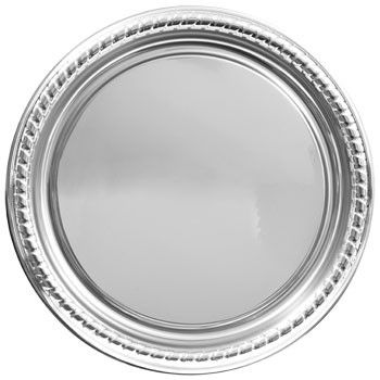 """Round Silver Plastic Serving Tray, 16"""""""
