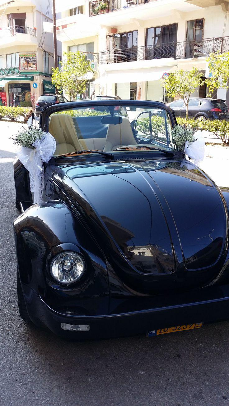 VW beetle wedding car flowers