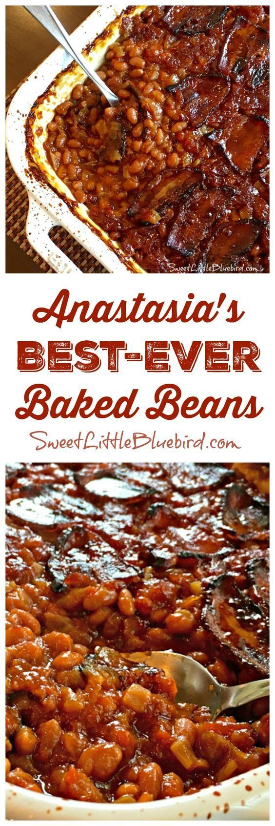 Today I am sharing my family's go-to baked beans recipe that has been in the family for decades - Anastasia's Best-Ever Baked Beans! These are a must-have at family barbecues! Simple to make, so darn good. Pork and beans with sauteed onions, molasses, brown sugar, ketchup, mustard, and bacon... a big ol' dish of comfort. Did I mention....bacon?!! These are the best stinkin' baked beans!! My sister always gets asked for the recipe when she brings this side dish to parties and gatherings..