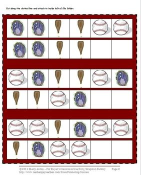 Patterns: Here are 2 file folder games with a math patterns and baseball theme. These baseball file folder games reinforce math patterns, from simple to complex. These pages may be assembled as baseball file folder games, or you may simply print and use as cut and paste baseball activities.