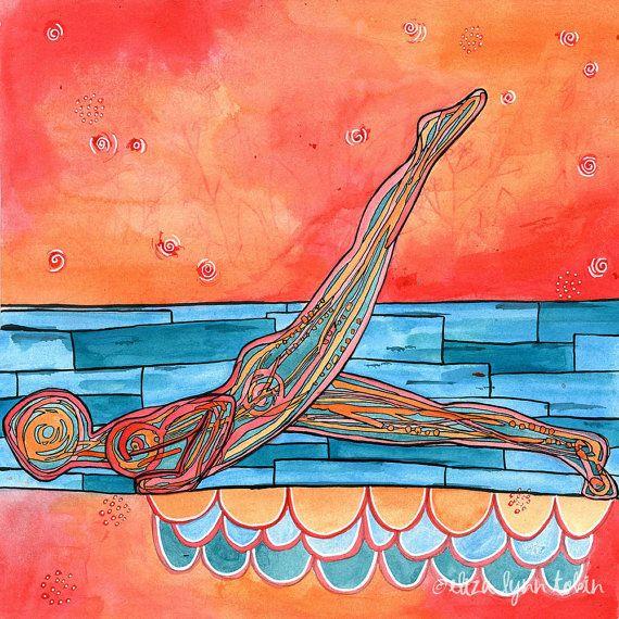 Yoga Art Print  Dive  yoga wall art yoga space decor by ElizaTobin
