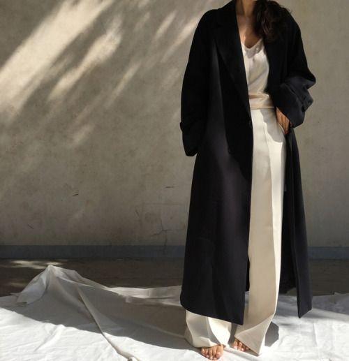 maxi coat and wide leg pants