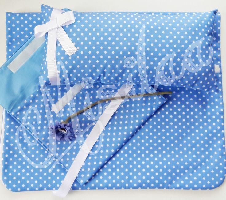 Yastık, Çanta ve Alt Açma Örtüsü Takımı (Mavi) * www.misilaa.com