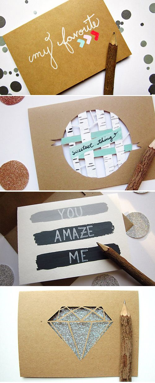 Handmade greeting cards...I love those types of pencils!