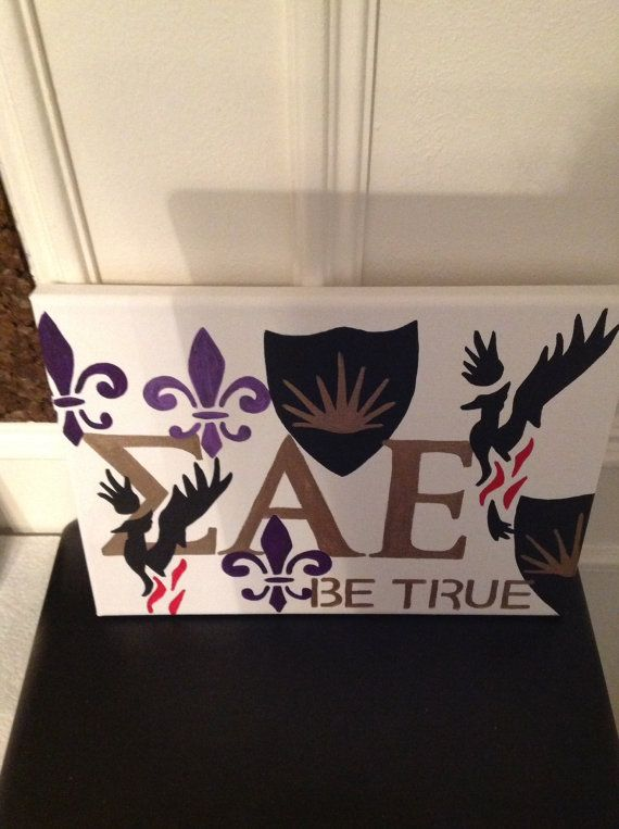 items similar to sigma alpha epsilon greek fraternity canvas hand painted sign wall hanging letters on etsy