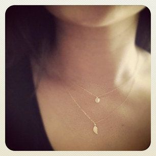 Too Cute, think Im going to get.Tiny Initial  and Leaf  Charm layered Necklace  by cocowagner, $30.90
