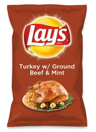 Wouldn't Turkey w/ Ground Beef & Mint be yummy as a chip? Lay's Do Us A Flavor is back, and the search is on for the yummiest flavor idea. Create a flavor, choose a chip and you could win $1 million! https://www.dousaflavor.com See Rules.