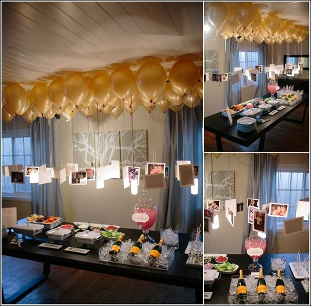 Floating balloons with photographs and other cute party decor ideas