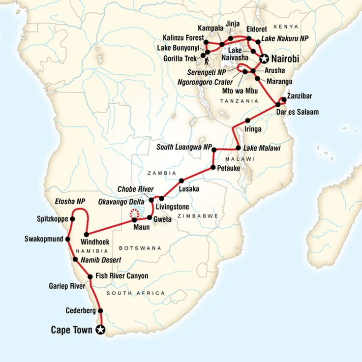 5 Incredible G Adventures Tours · Kenton de Jong Travel -Map of Ultimate Africa - Cape Town to Nairobi http://kentondejong.com/blog/5-incredible-g-adventure-tours