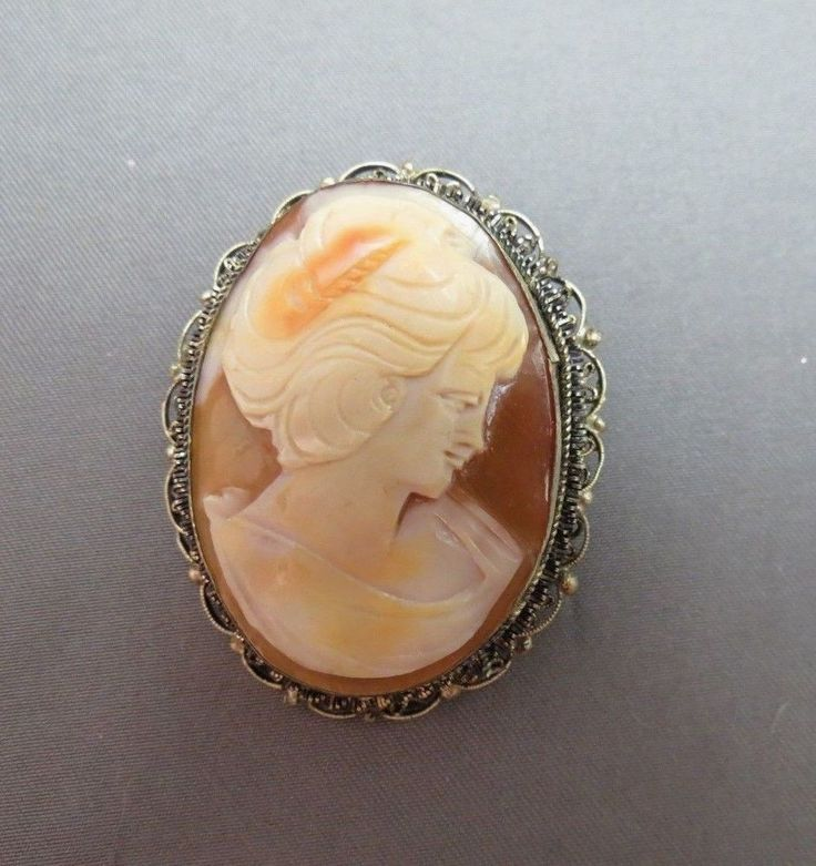 Vintage 800 Silver Carved Shell Cameo Style Brooch Womans