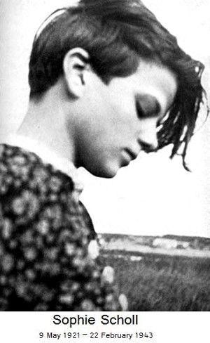 "WW2 ¥ (1943) On the 70th Anniversary of the Execution of Sophie Scholl, 22 February 1943 - Sophie Scholl was a German woman executed by the Nazis for distributing anti-Nazi pamphlets. Prison officials, in later describing the scene, emphasized the courage with which she walked to her execution. Her last words were: ""How can we expect righteousness to prevail when there is hardly anyone willing to offer themselves up individually for a righteous cause? Such a fine, sunny day, and I have to…"