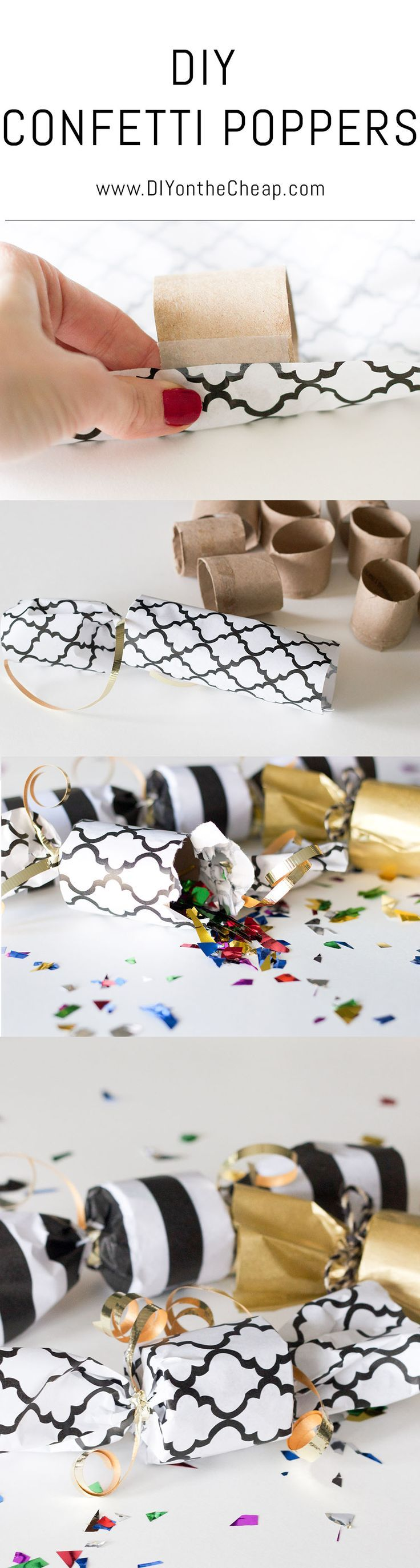 Make these easy, inexpensive DIY Confetti Poppers. Perfect for New Year's Eve!